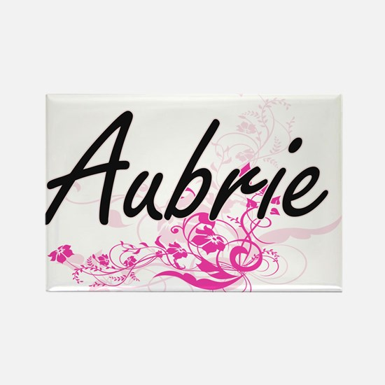 Aubrie Artistic Name Design with Flowers Magnets