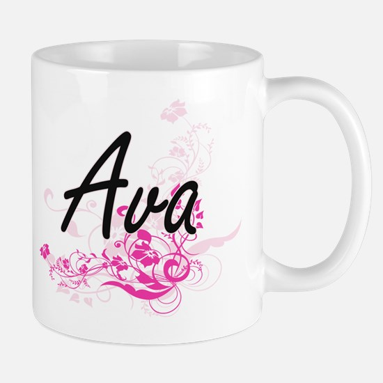 Ava Artistic Name Design with Flowers Mugs