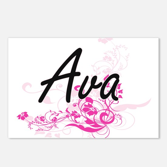 Ava Artistic Name Design Postcards (Package of 8)