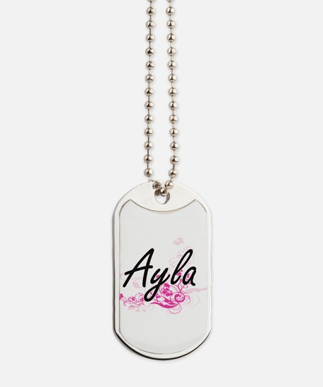 Ayla Artistic Name Design with Flowers Dog Tags