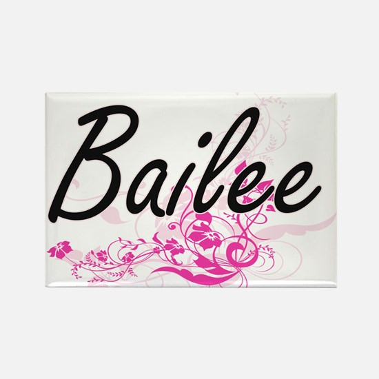 Bailee Artistic Name Design with Flowers Magnets