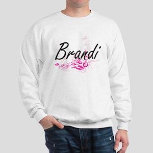 Brandi Artistic Name Design with Flower Sweatshirt