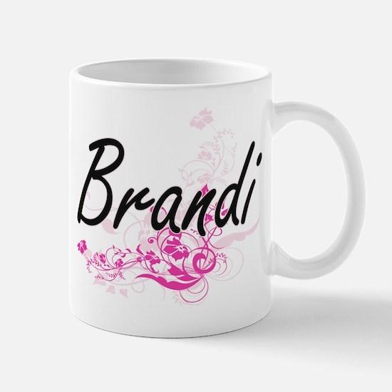Brandi Artistic Name Design with Flowers Mugs