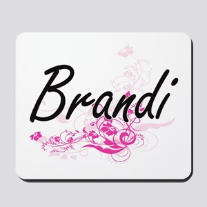 Brandi Artistic Name Design with Flowers Mousepad