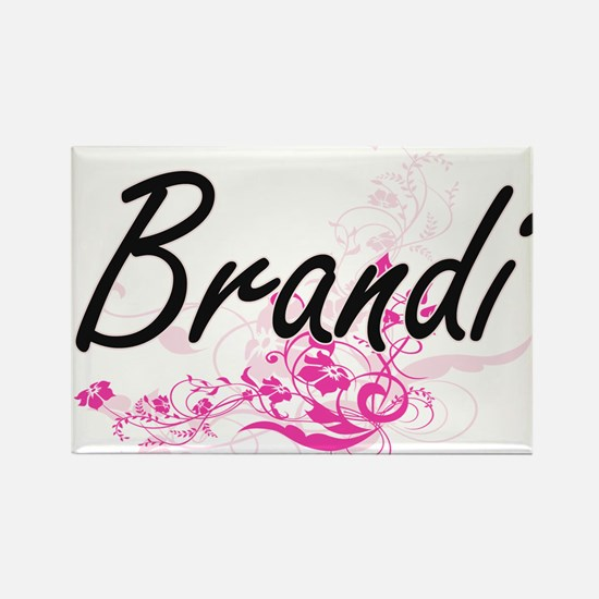 Brandi Artistic Name Design with Flowers Magnets
