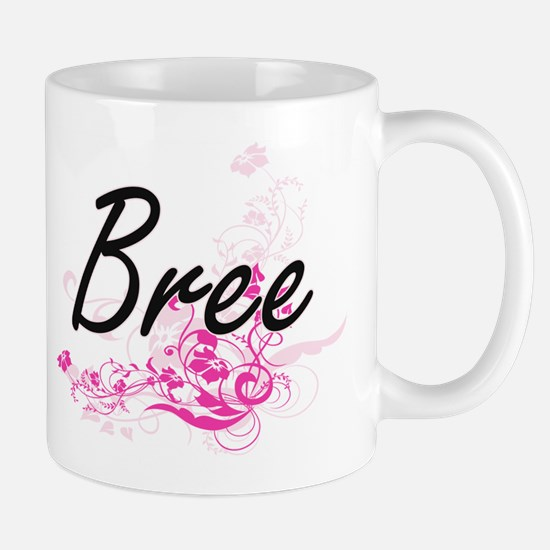 Bree Artistic Name Design with Flowers Mugs
