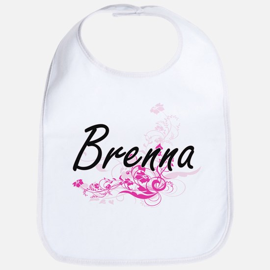 Brenna Artistic Name Design with Flowers Bib