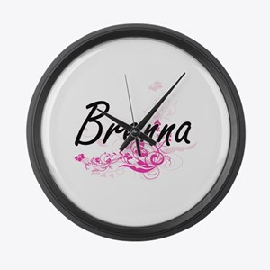 Brenna Artistic Name Design with Large Wall Clock