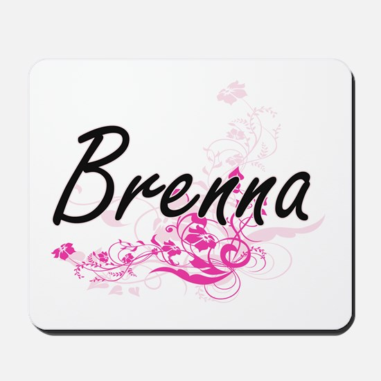 Brenna Artistic Name Design with Flowers Mousepad