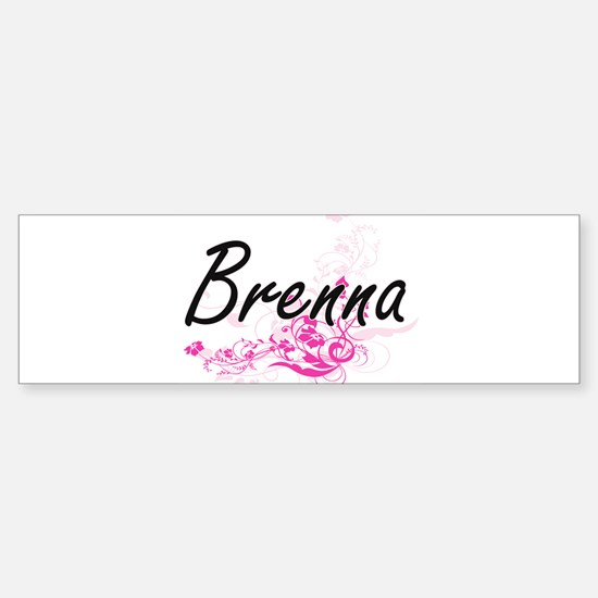 Brenna Artistic Name Design with Fl Bumper Bumper Bumper Sticker