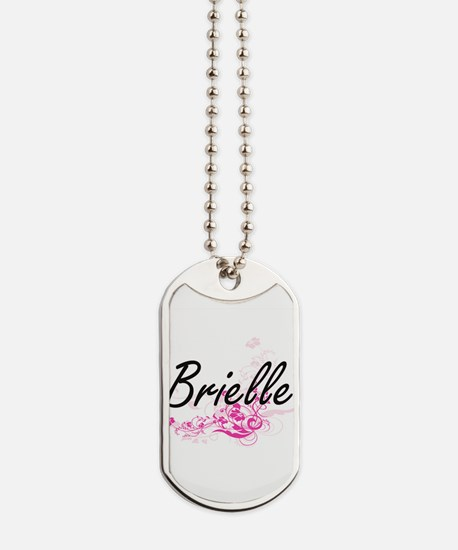 Brielle Artistic Name Design with Flowers Dog Tags