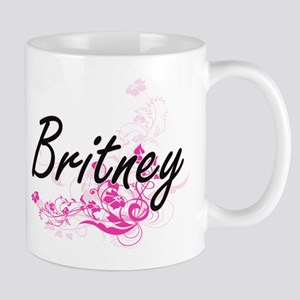 Britney Artistic Name Design with Flowers Mugs