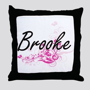 Brooke Artistic Name Design with Flow Throw Pillow