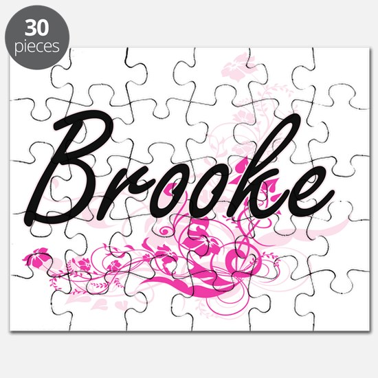 Brooke Artistic Name Design with Flowers Puzzle