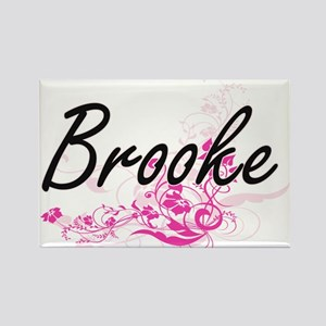Brooke Artistic Name Design with Flowers Magnets