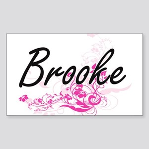 Brooke Artistic Name Design with Flowers Sticker