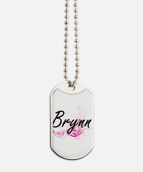 Brynn Artistic Name Design with Flowers Dog Tags