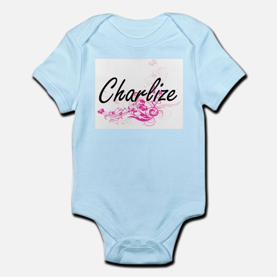 Charlize Artistic Name Design with Flowe Body Suit
