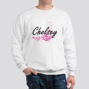 Chelsey Artistic Name Design with Flowe Sweatshirt
