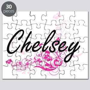 Chelsey Artistic Name Design with Flowers Puzzle
