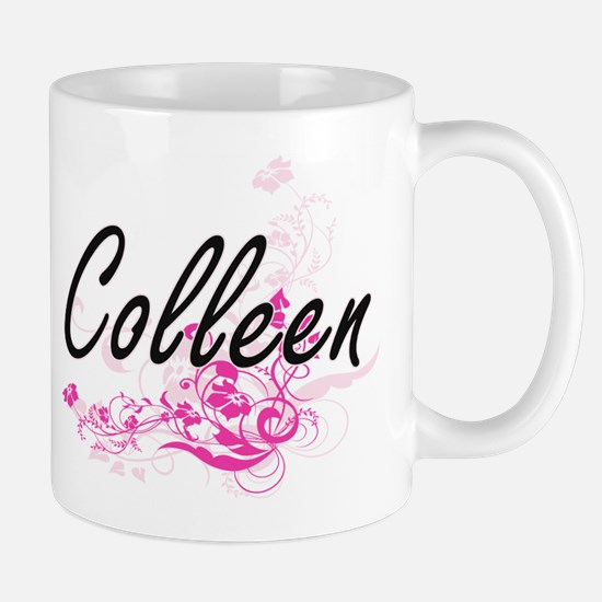 Colleen Artistic Name Design with Flowers Mugs