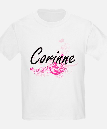 Corinne Artistic Name Design with Flowers T-Shirt