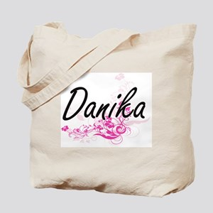Danika Artistic Name Design with Flowers Tote Bag