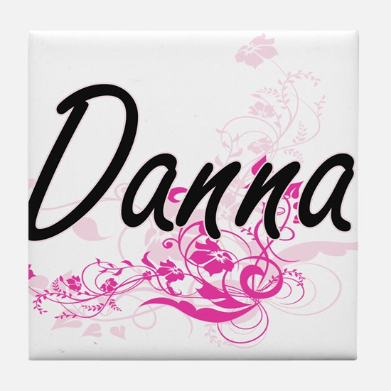 Danna Artistic Name Design with Flowe Tile Coaster