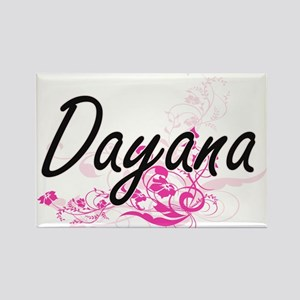 Dayana Artistic Name Design with Flowers Magnets