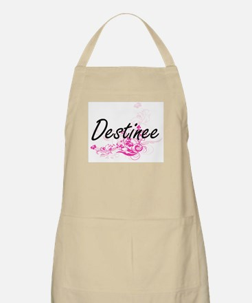 Destinee Artistic Name Design with Flowers Apron