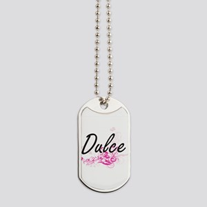 Dulce Artistic Name Design with Flowers Dog Tags