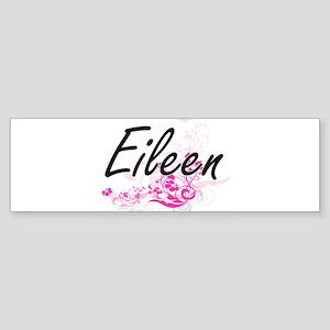 Eileen Artistic Name Design with Fl Bumper Sticker