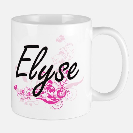 Elyse Artistic Name Design with Flowers Mugs