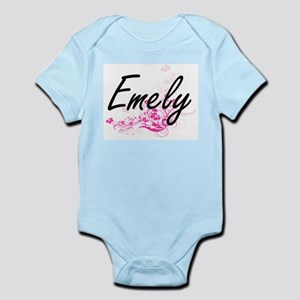 Emely Artistic Name Design with Flowers Body Suit