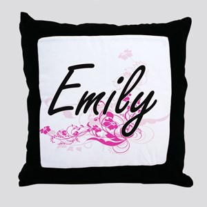 Emily Artistic Name Design with Flowe Throw Pillow