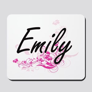 Emily Artistic Name Design with Flowers Mousepad