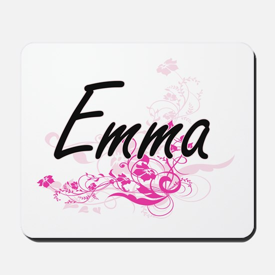 Emma Artistic Name Design with Flowers Mousepad