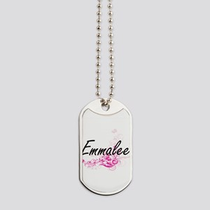 Emmalee Artistic Name Design with Flowers Dog Tags