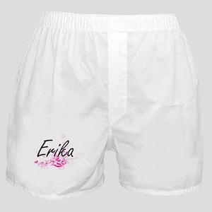Erika Artistic Name Design with Flowe Boxer Shorts
