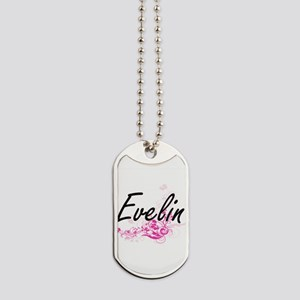 Evelin Artistic Name Design with Flowers Dog Tags