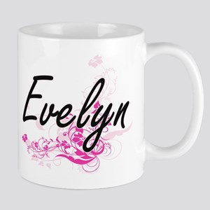 Evelyn Artistic Name Design with Flower Mugs