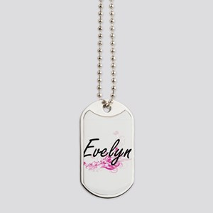 Evelyn Artistic Name Design with Flowers Dog Tags
