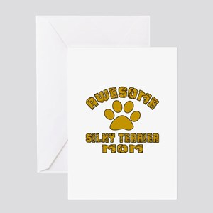 Awesome Silky Terrier Mom Dog Design Greeting Card