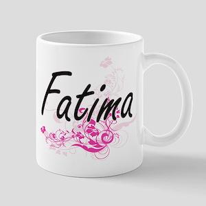 Fatima Artistic Name Design with Flowers Mugs