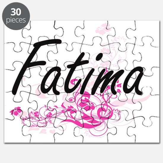 Fatima Artistic Name Design with Flowers Puzzle