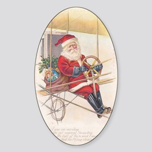 Vintage Santa Airship 1915 Sticker (Oval)