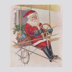 Vintage Santa Airship 1915 Throw Blanket