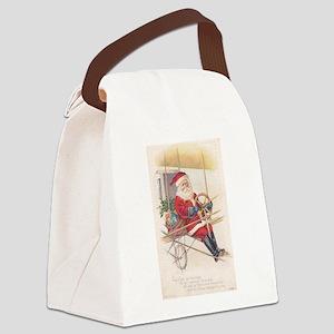 Vintage Santa Airship 1915 Canvas Lunch Bag