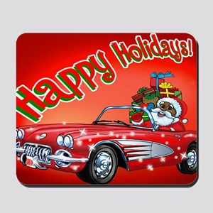 Vintage Car Santa Mousepad
