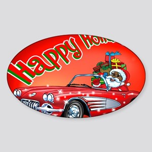 Vintage Car Santa Sticker (Oval)